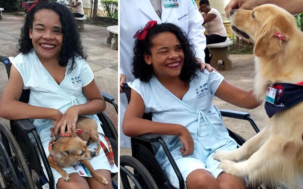 A estudante Raquel de Lima, de 18 anos, recebeu a visita dos cães no Hospital das Clínicas de Ribeirão Preto — Foto: Raquel de Lima/Arquivo pessoal