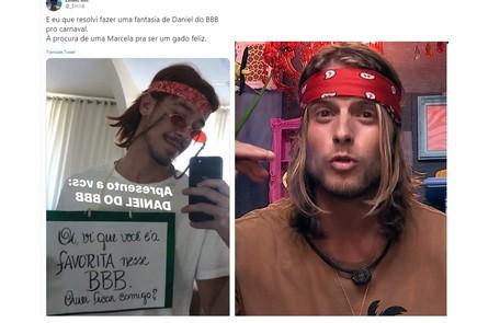 Emilio XM se vestiu como Daniel e usou uma placa em referência a Marcela, favorita a vencer o programa Reprodução/Twitter