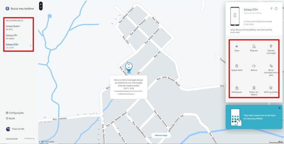 Localização mostra seus dispositivos no mapa e oferece opções de remotas — Foto: Reprodução/Filipe Garrett