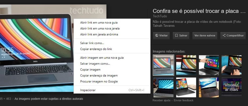 Mesmo com remoção do botão, ainda é possível visualizar imagens em tamanho real sem entrar no site de origem (Foto: Reprodução/Rodrigo Fernandes)