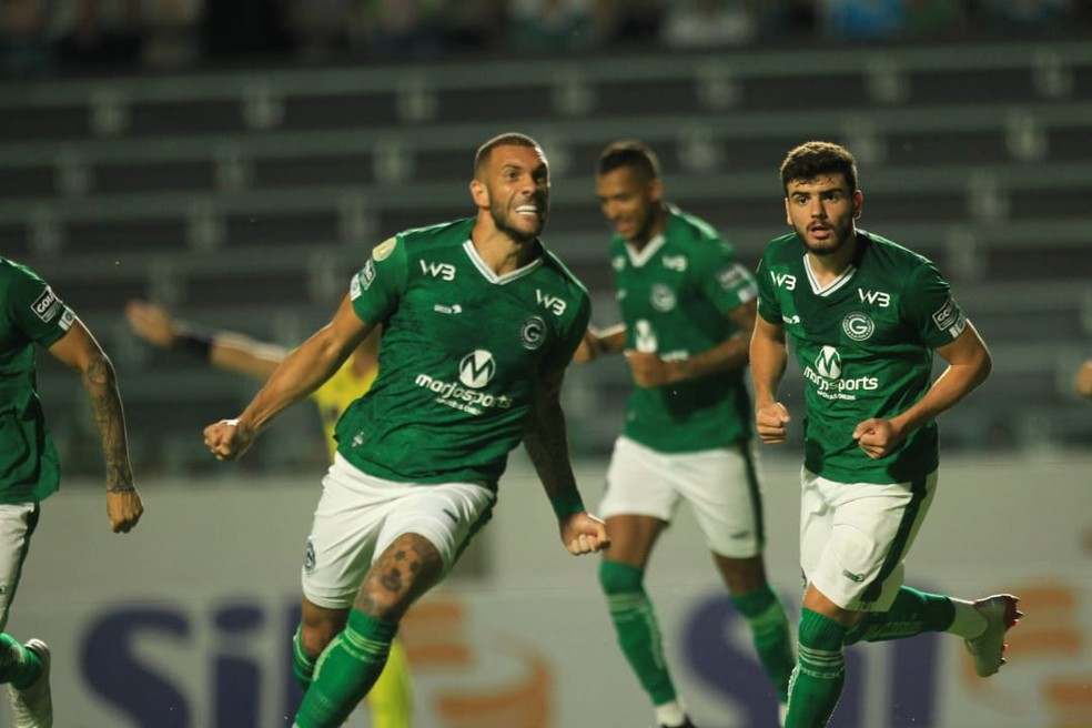 Fernandão comemora gol sobre o Sport na rodada passada — Foto: Douglas Schinatto / O Popular