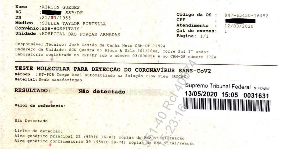 Primeiro exame entregue ao Supremo Tribunal Federal, em processo sobre testagem de Jair Bolsonaro — Foto: STF/Reprodução