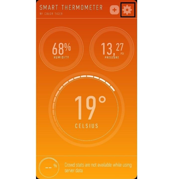 Atalho para as configurações do Smart Thermometer (Foto: Reprodução/Lívia Dâmaso)