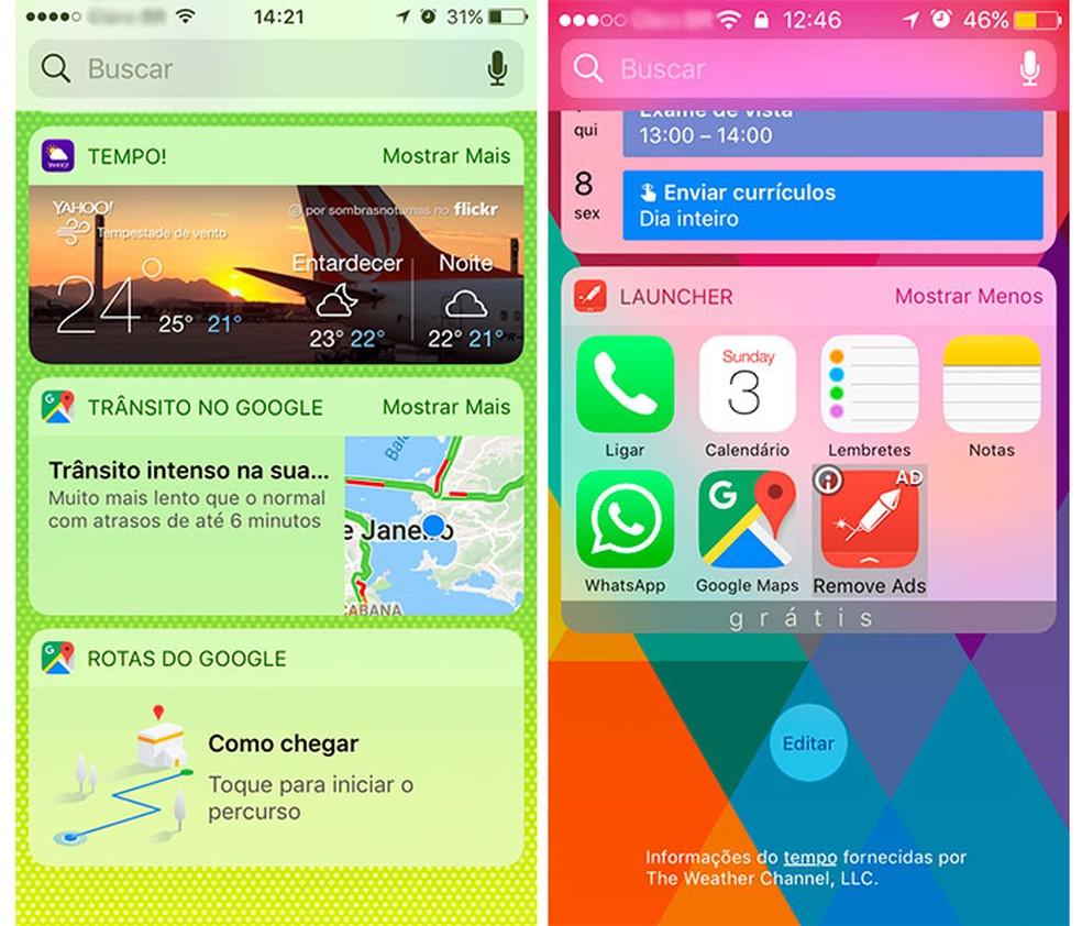 O widget do Yahoo! se destaca com as fotos de fundo, e o do Launcher agiliza o acesso a até sete apps. (Foto: Reprodução/Raísa Chiarelli)