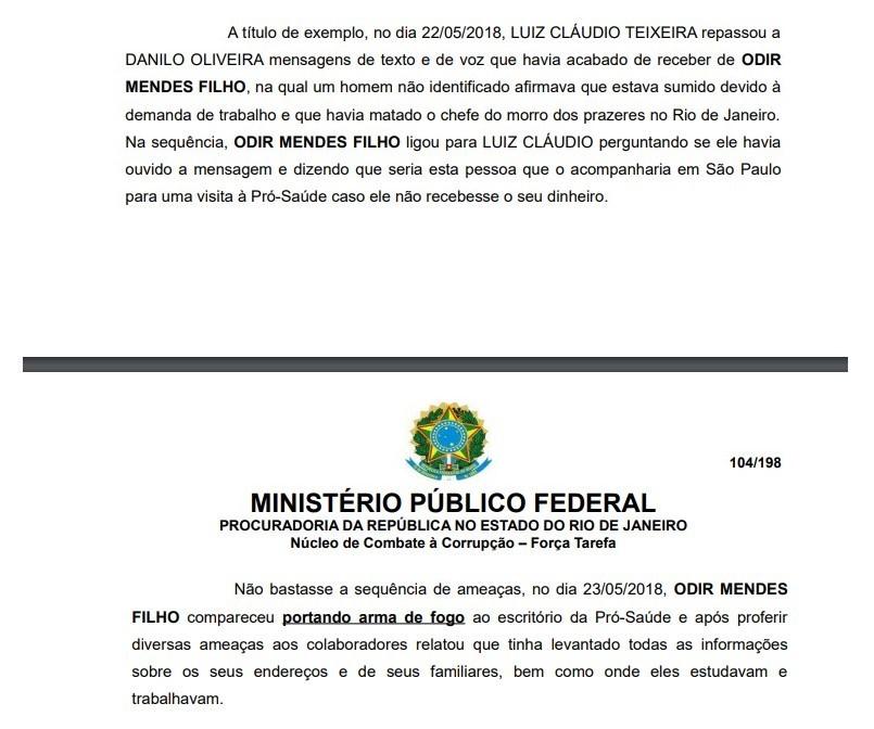 Reprodução da denúncia do MPF