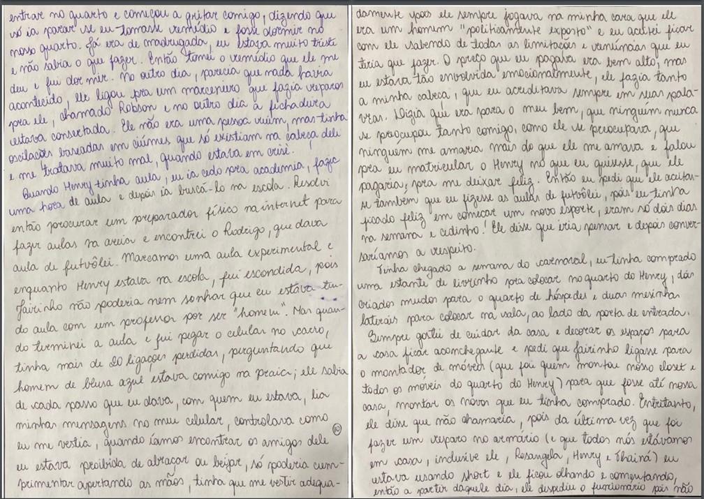 Caso Henry Borel: carta de Monique Medeiros (parte 10) — Foto: Reprodução