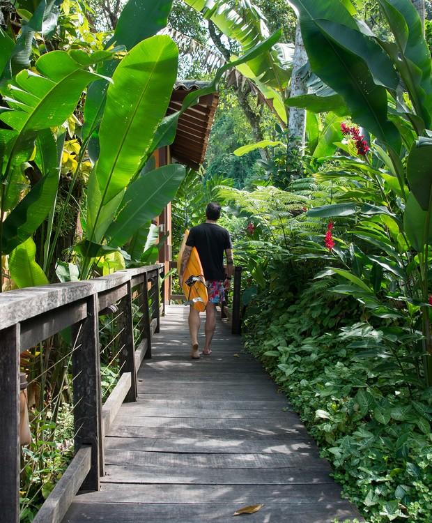 O deck de acesso à construção está sempre cercado do verde da mata atlântica nativa do local  (Foto: Cacá Bratke/Divulgação | Produção Deborah Apsan)