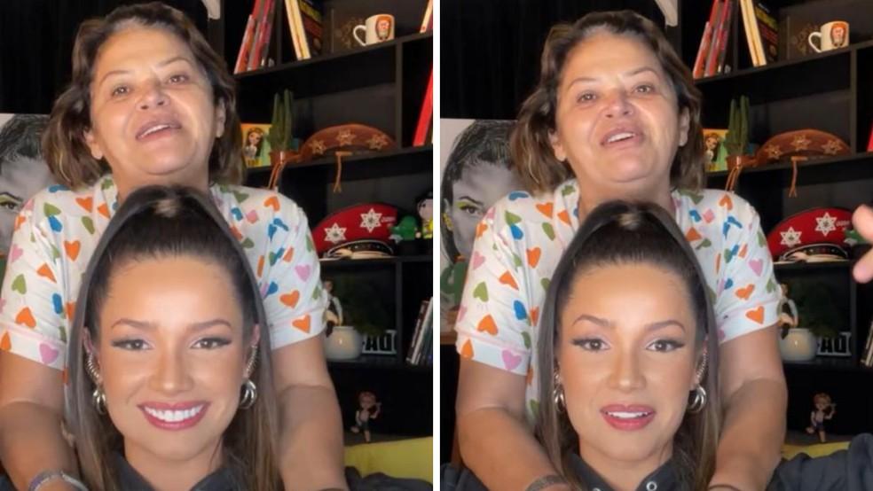 Juliette e a mãe, Dona Fátima, durante live para fãs — Foto: Reprodução/Instagram