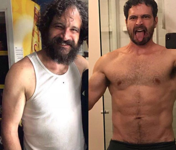 Caco Ciocler antes e depois da transformação para a novela (Foto: Reprodução/Instagram)