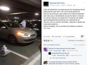 Caso de criança trancada pelo pai dentro de carro em estacionamento repercutiu nas redes sociais (Foto: Reprodução/Facebook)