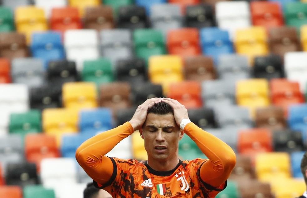 Cristiano Ronaldo em Udinese x Juventus — Foto: Alessandro Garofalo/Reuters