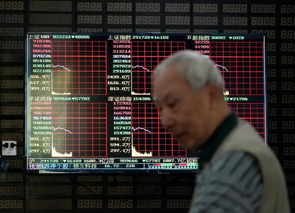 Investidor passa em frente a display de ações em Xangai, China, nesta segunda-feira (6) — Foto: Aly Song/Reuters