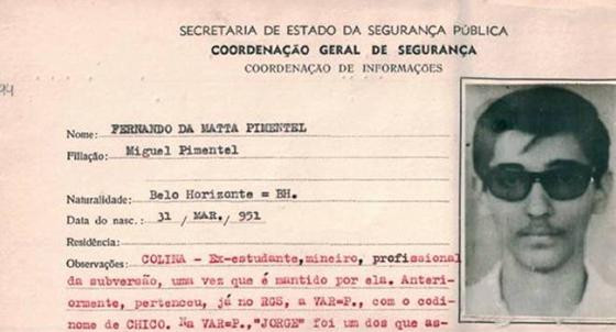 """Ficha de """"subversivo"""" elaborada pela ditadura militar quando Fernando Pimentel atuava em grupos de esquerda. Os amigos do passado se surpreendem com seu presente (Foto: Reprodução)"""