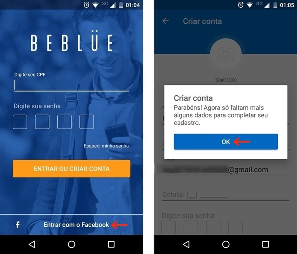 Realização de login no Beblue com conta do Facebook — Foto: Reprodução/Raquel Freire
