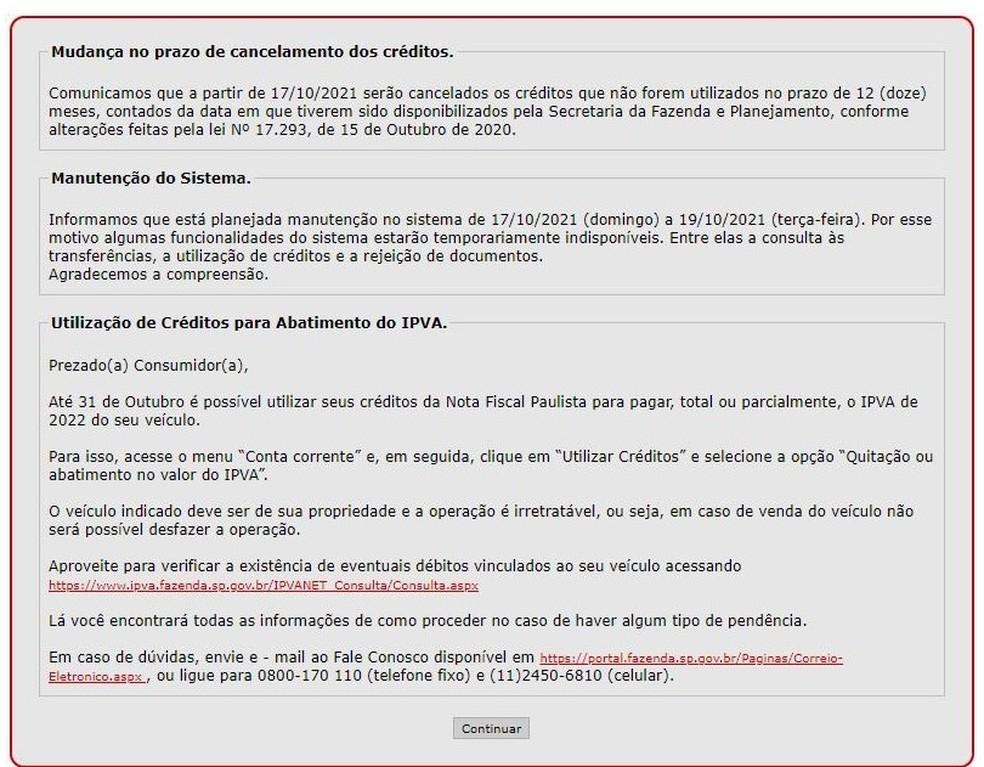 Aviso de mudança no prazo de cancelamento dos créditos da Nota Fiscal Paulista — Foto: Reprodução