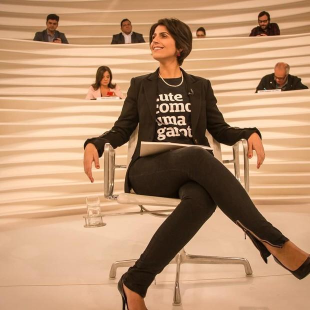 A pré-candidata à presidente Manuela D'Ávila no programa Roda Viva: sua fala foi oito vezes mais interrompida do que os candidatos homens (Foto: reprodução Instagram)