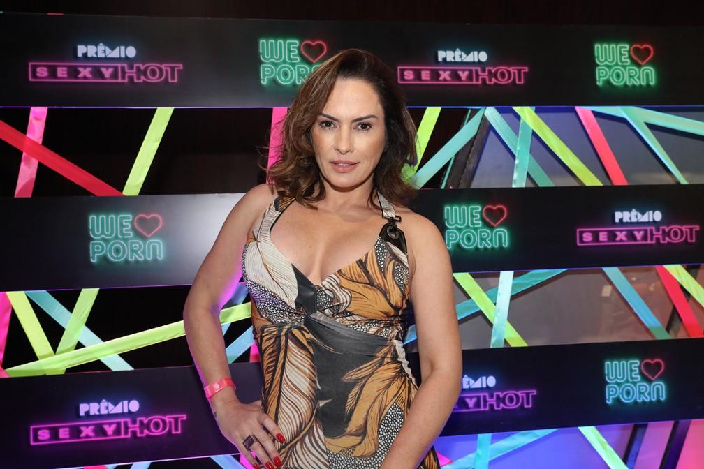 Núbia Óliiver chega ao Prêmio Sexy Hot 2018 — Foto: Celso Tavares/G1