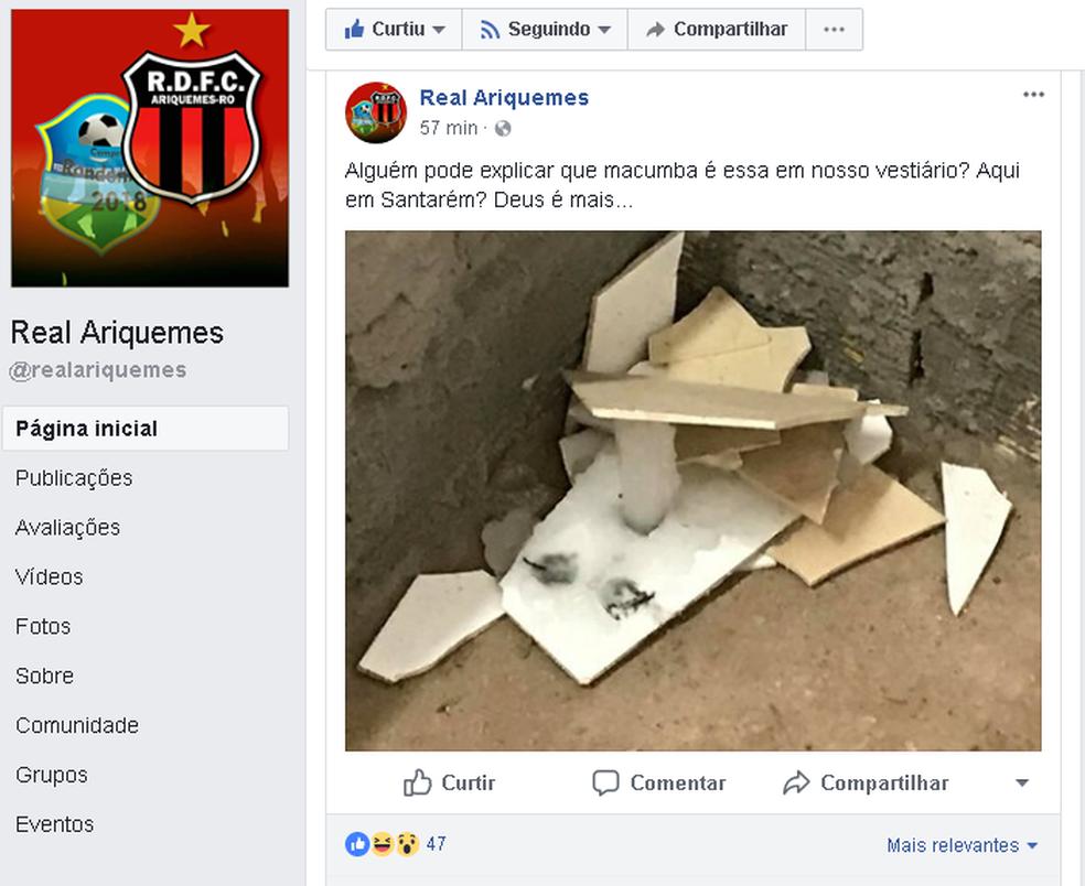 Print da página do Real Ariquemes  (Foto: Divulgação)