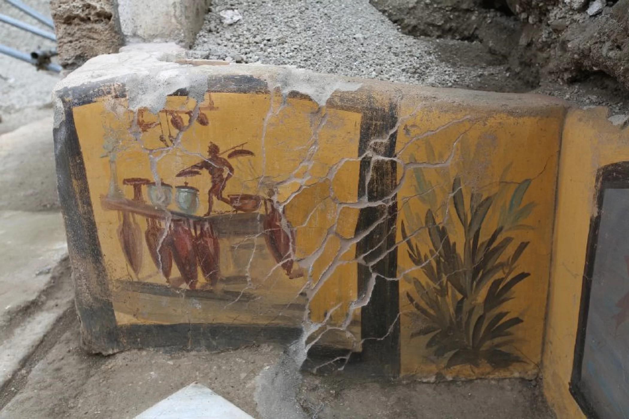 Ilustrações encontradas nas ruínas do antigo restaurante (Foto: Archaeological Park of Pompeii)