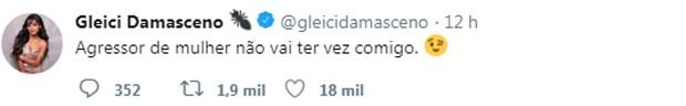 Post de Gleici (Foto: Reprodução/Twitter)