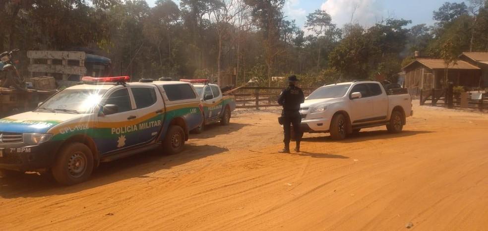 Seis pessoas foram presas por invasão de propriedade na zona rural de Cujubim — Foto: Redes sociais/Reprodução