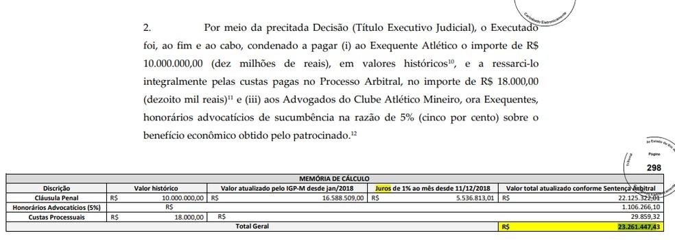 Parte da peça processual do Galo contra Fred, e o cálculo da multa — Foto: Reprodução