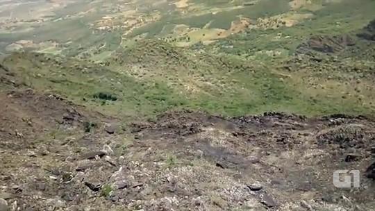 Imagens mostram área destruída por incêndio na Chapada Diamantina, BA