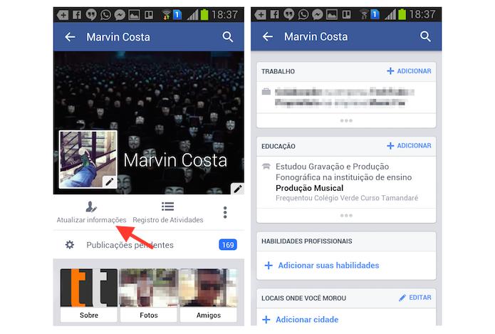 Atualizando informações pendentes no perfil do Facebook através de um smartphone Android (Foto: Reprodução/Marvin Costa)