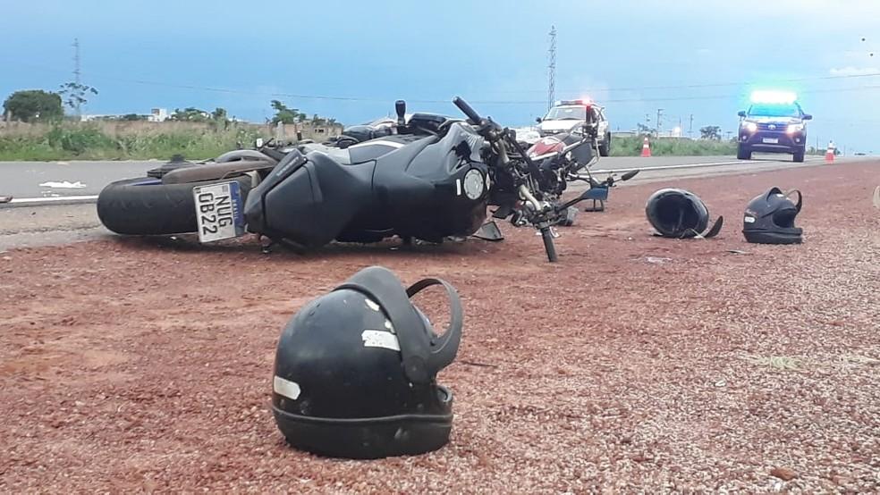 Acidente envolvendo duas motos em Rondonópolis — Foto: Emerson Sanchez