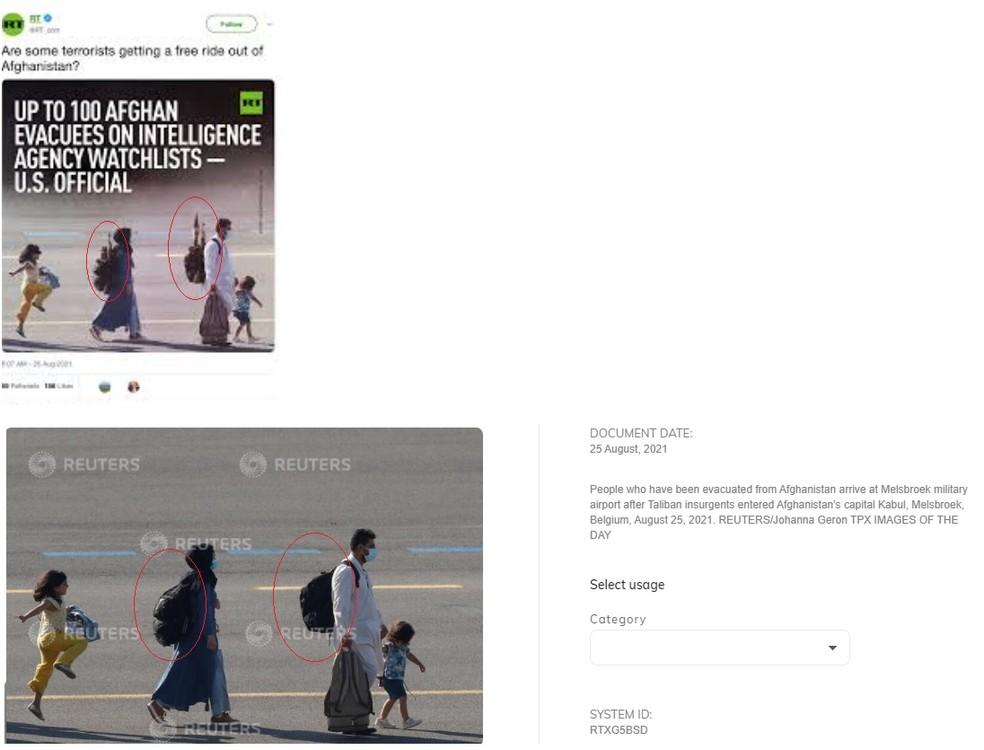 Imagem alterada (no alto) e a imagem original — Foto: Reprodução