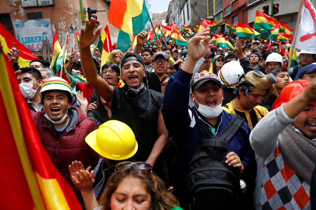 Manifestação em La Paz contra o presidente Evo Morales da Bolívia, em 9 de novembro de 2019 — Foto: Kai Pfaffenbach/Reuters