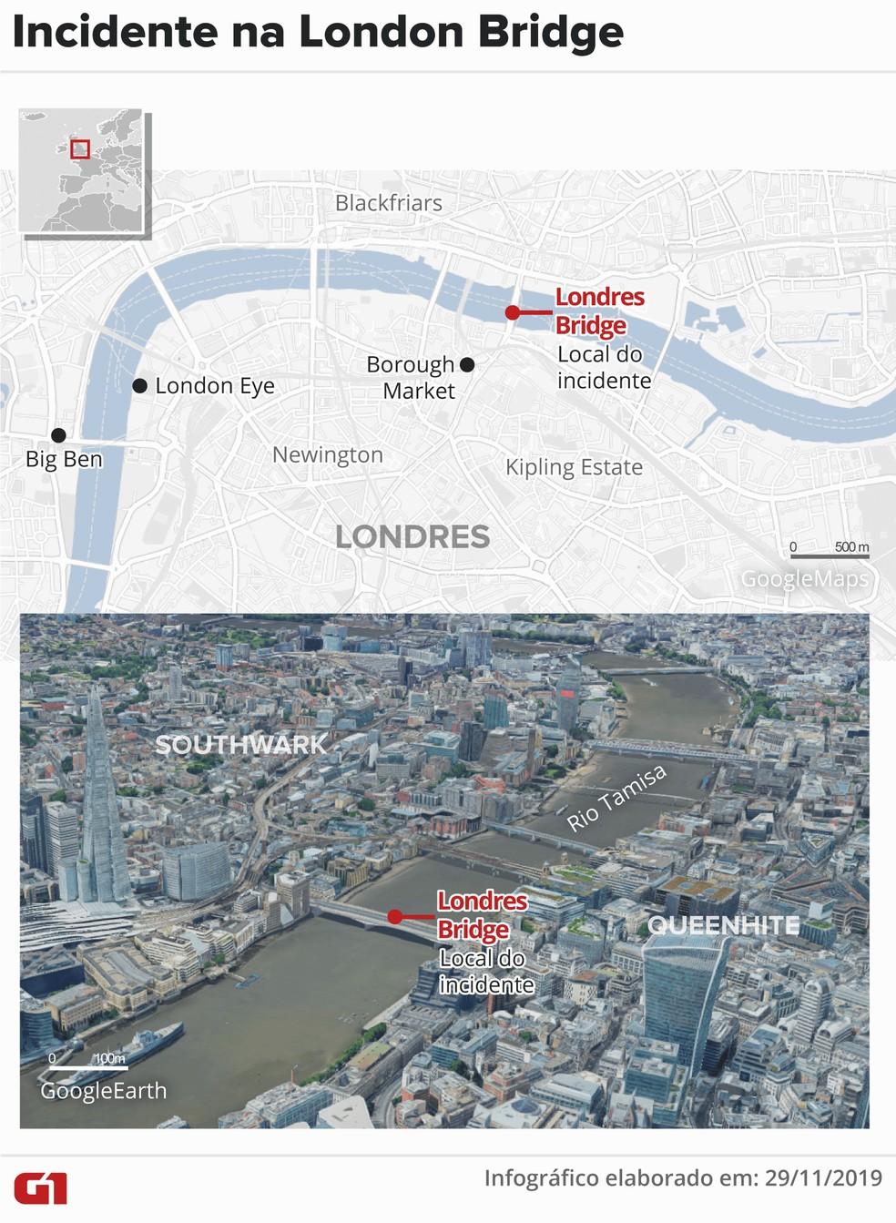 Mapa mostra local do incidente na London Bridge — Foto: Juliane Souza/G1