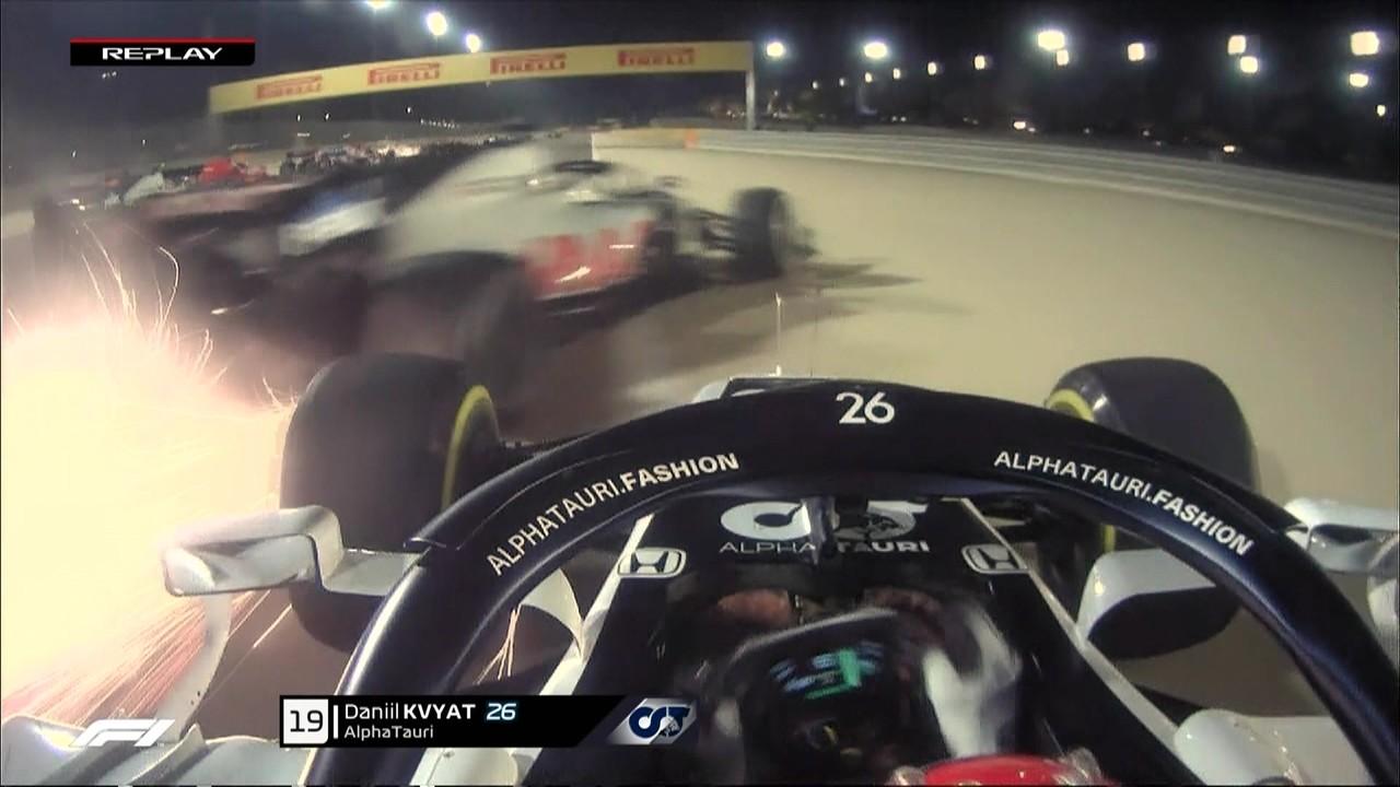Imagem mostra que carro de Grosjean se choca com o de Kvyat antes do acidente