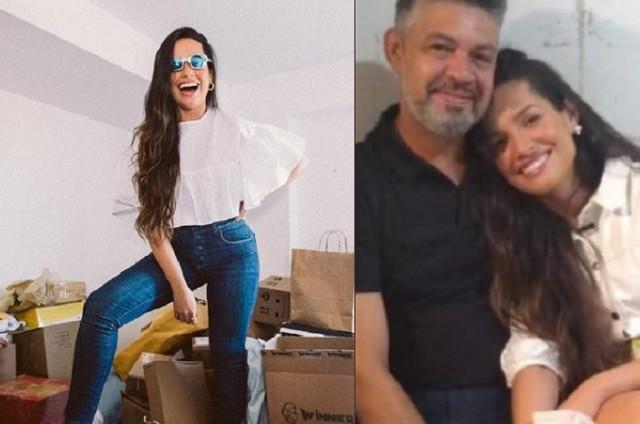 Juliette, à esquerda, em seu antigo quarto no apartamento na Paraíba. À direita, com familiares (Foto: Reprodução)