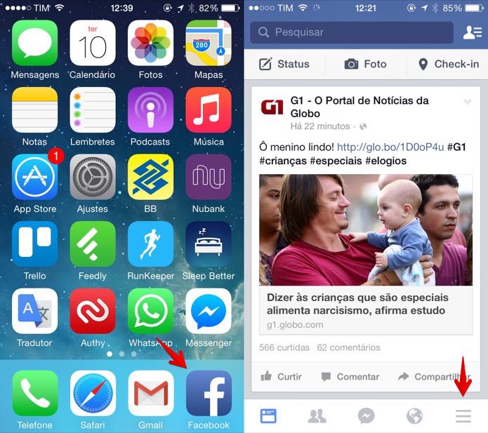 Abra o aplicativo do Facebook para iOS (Foto: Reprodução/Helito Bijora)