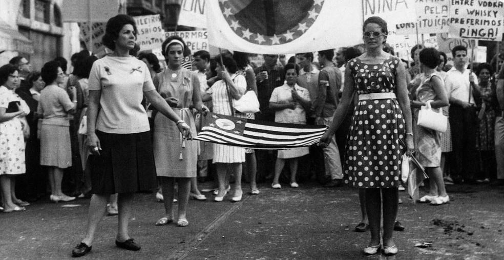 Imagem da Marcha da Família com Deus pela Liberdade, que ocorreu em São Paulo em 19 de março de 1964 — Foto: Folhapress