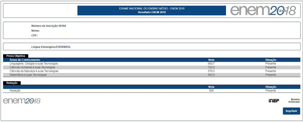 Resultado do Enem 2018 mostra apenas as notas: espelho da redação só será divulgado em 18 de março, segundo o Inep — Foto: Reprodução/Inep