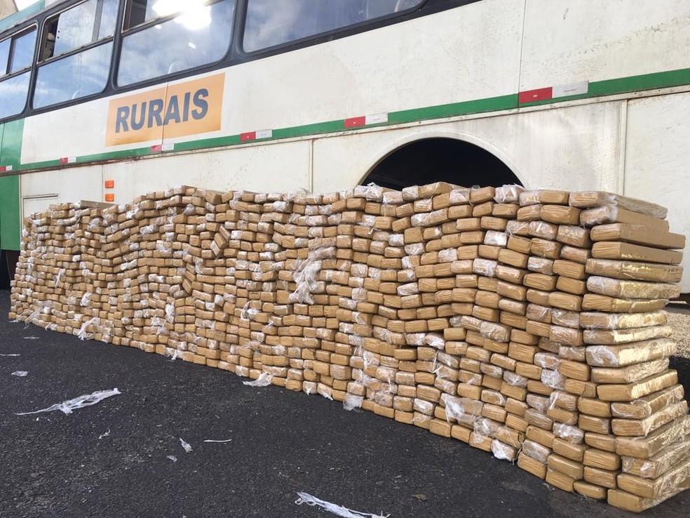 Ônibus lotado de maconha foi apreendido pela Polícia Rodoviária — Foto: João Alberto Pedrini/G1