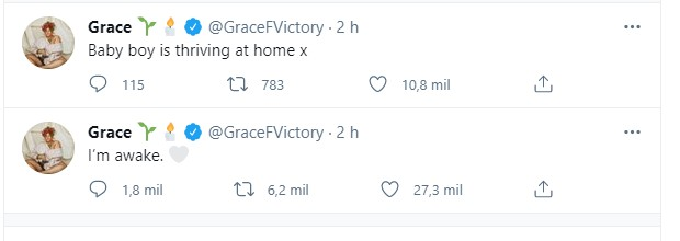 Os tweets de Grace Victory (Foto: Reprodução Twitter )