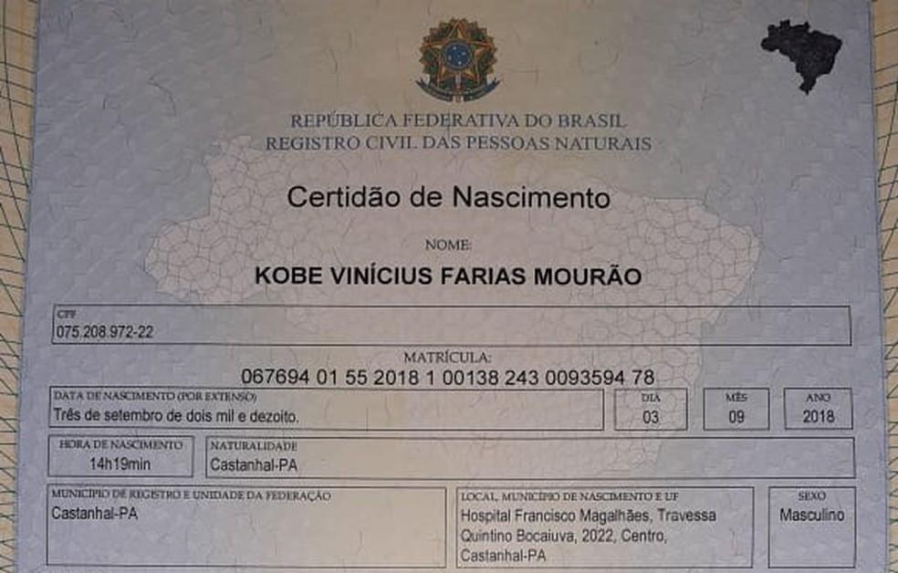 Certidão de nascimento do pequeno Kobe — Foto: Arquivo pessoal