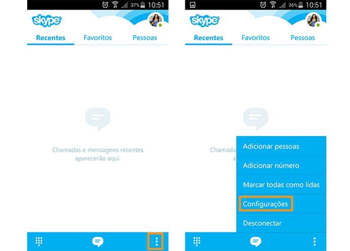 Acesse as configurações do Skype pelo Android (Foto: Reprodução/Barbara Mannara)