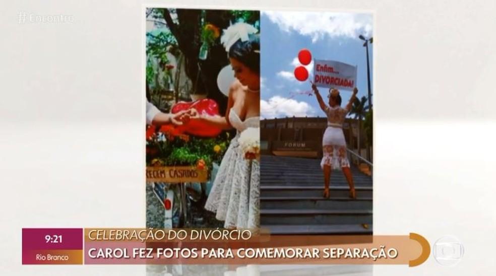 Carol Dourado em dois momento: no casamento e no ensaio pós-divórcio — Foto: Globo