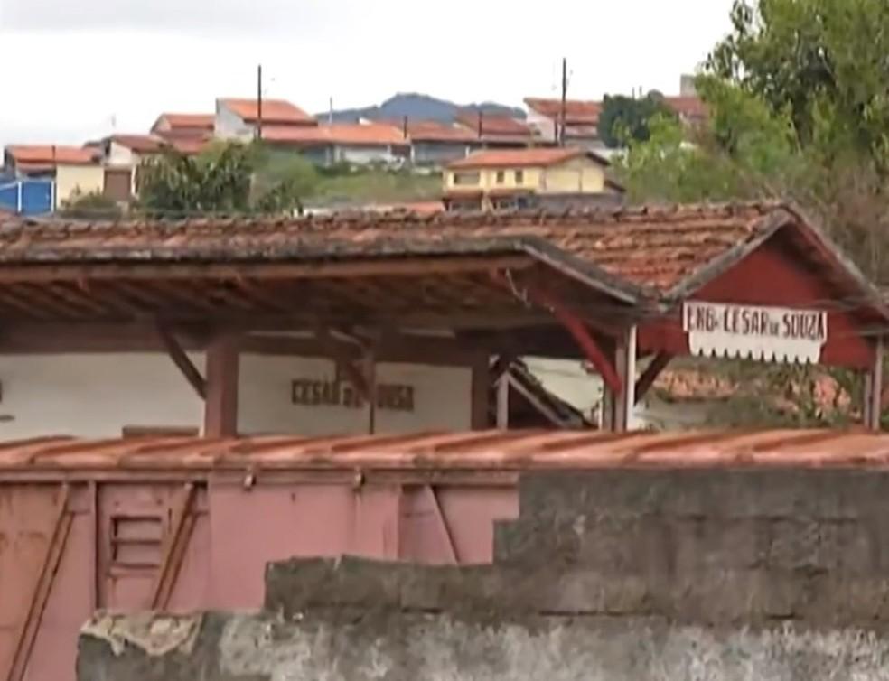 Estação Ferroviária César de Sousa, em Mogi das Cruzes — Foto: Reprodução/TV Diário