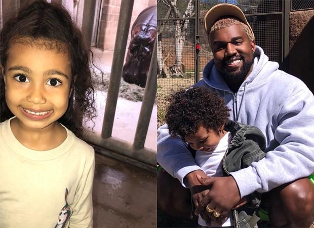 North, e Kanye West com Saint (Foto: Reprodução/Instagram)