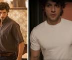 Chay Suede como Danilo na primeira temporada de 'Amor de mãe'; à direita, o ator como Danilo na nova fase | Reprodução