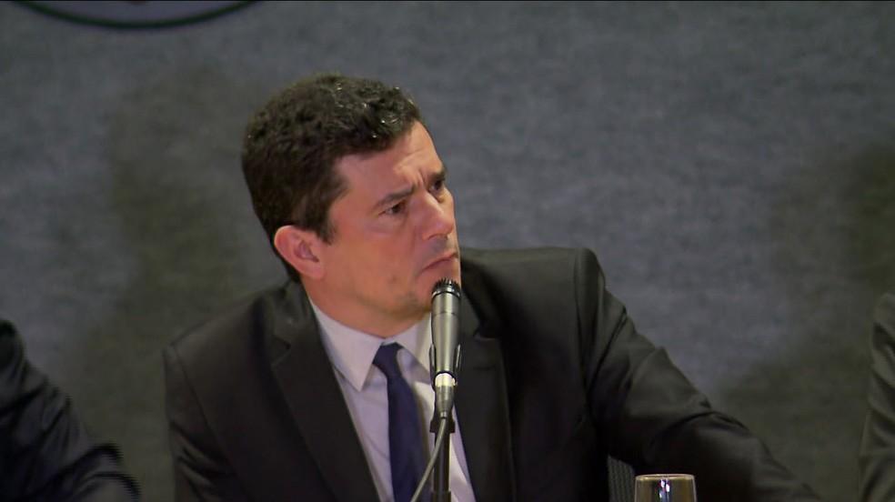 O ministro Sergio Moro  durante evento na Polícia Federal, na sexta-feira (1º), em Curitiba — Foto: RPC/Curitiba