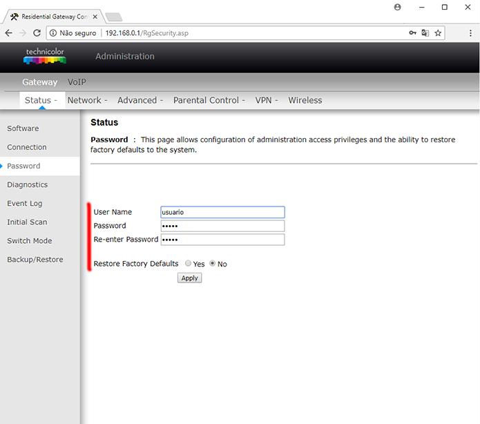 Como mudar o login de usuário e senha do roteador Technicolor