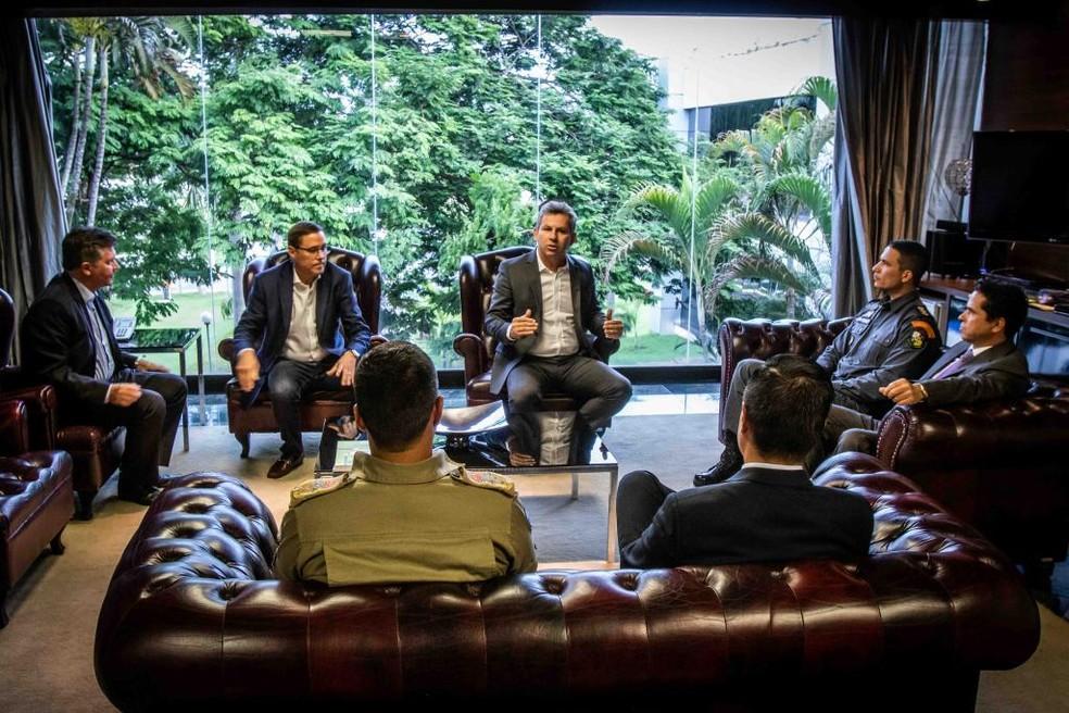 Governador Mauro Mendes anuncia novos nomes para a Segurança. — Foto: Gcom/Assessoria
