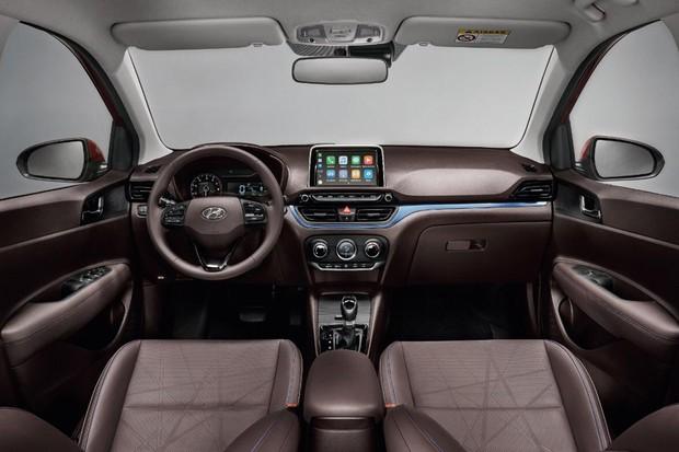 Interior do novo HB20 está disponível em cores como preto, marrom e cinza claro (Foto: Divulgação)
