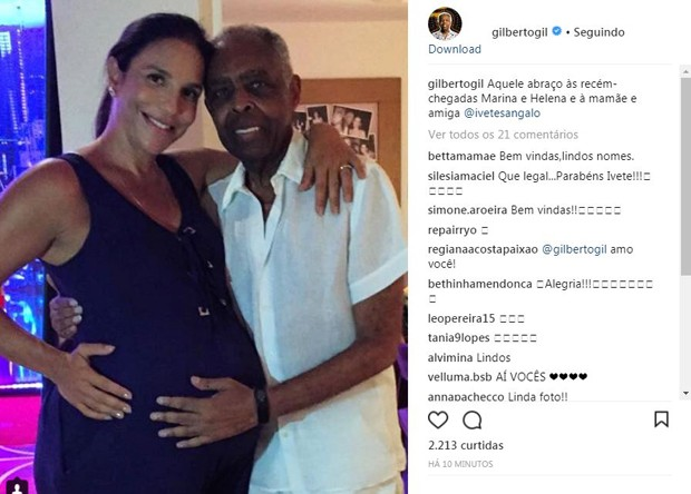 Ivete Sangalo e Gilberto Gil (Foto: Reprodução/Instagram)